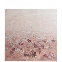 Tableau d'un champ de fleurs roses