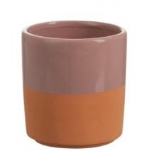 Un cachepot en céramique bicolore