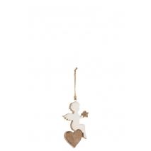Un ange sur un coeur en bois de manguier