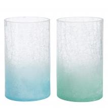 Vase en verre bleu aqua